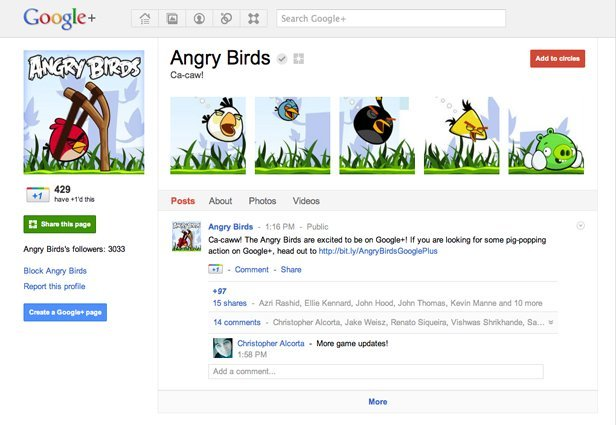 Google+ Brand Pages Angry Birds