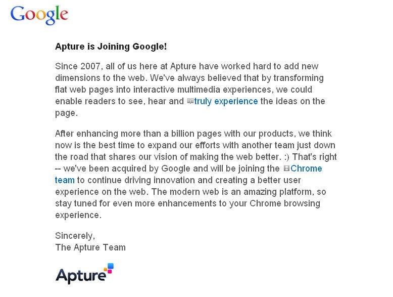 Google acquired Apture