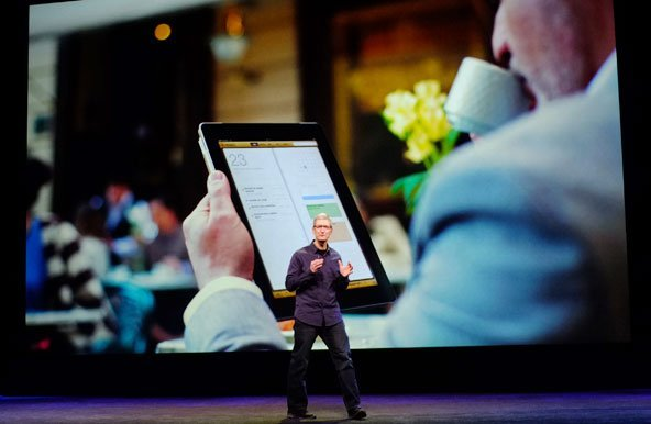 Tim Cook unveiling iPad