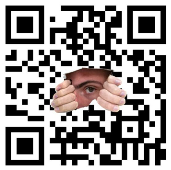 man hiding in qr code