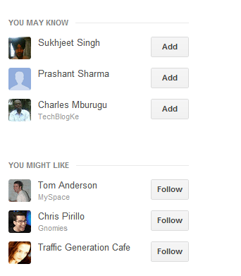 suggestion pane for adding new people to your Google+ profile