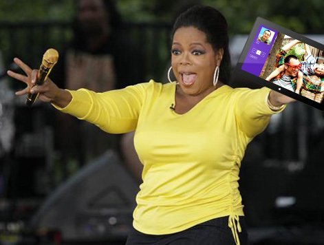 Oprah showed off her love for Microsoft Surface on Twitter, tweets with Apple iPad