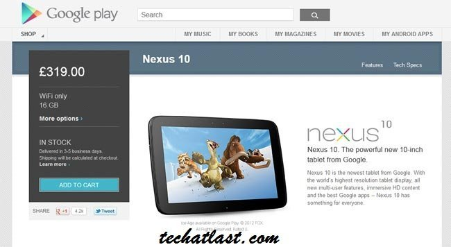 16GB Nexus 10 Available in Stock at Google Play UK