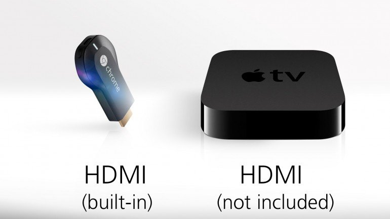 Chromecast and Apple TV both can connect to your TV via HDMI, but Apple makes you buy a separate cable