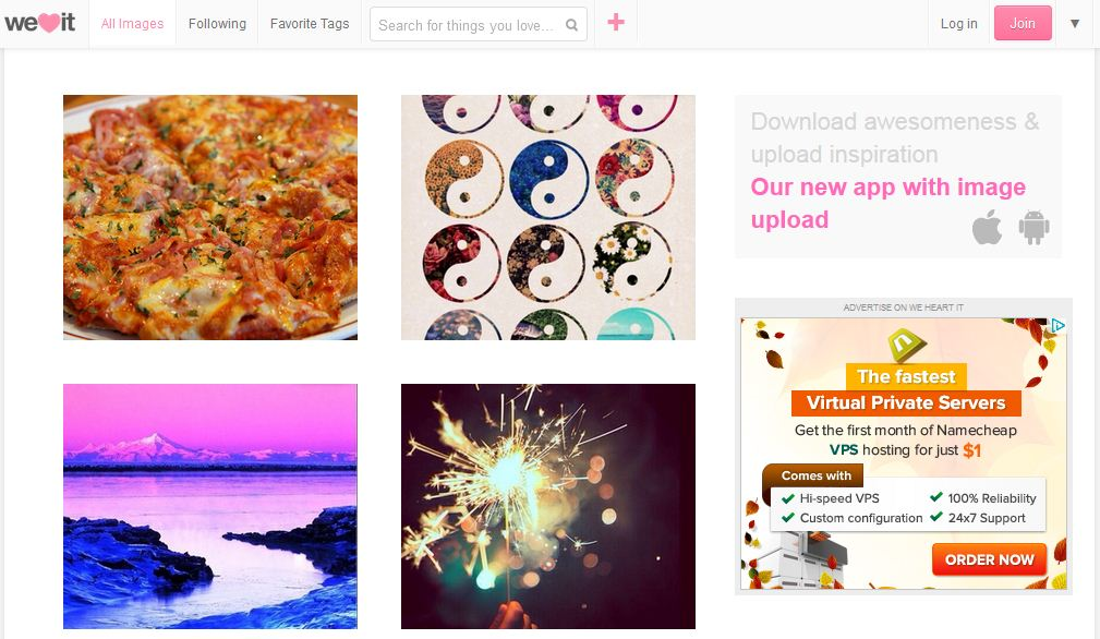 WeHeartIt works like Pinterest for image collection