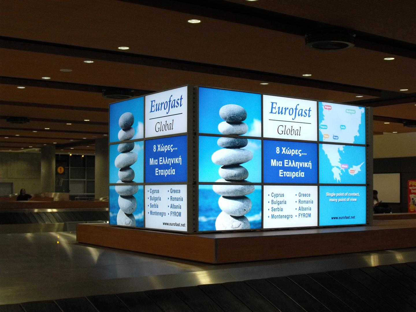 Scala Digital Signage Network at Larnaca Airport showing Eurofast Global