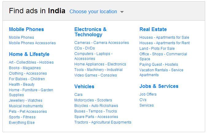 Products and Services available on OLX.in