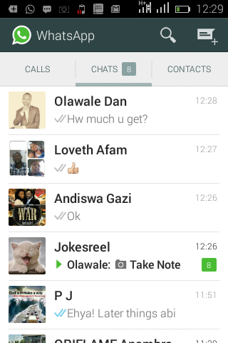 WhatsApp Call conversation chat