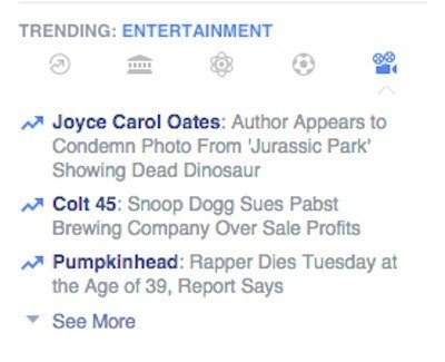 Facebook Trending Topics Entertainment
