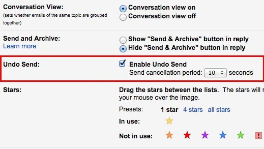 How to enable the Gmail Undo Send features