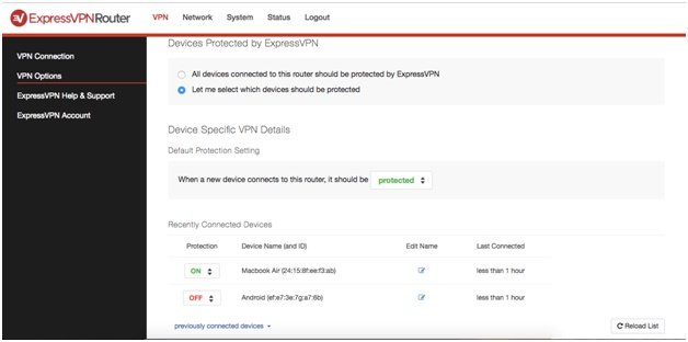 ExpressVPN Router settings and configuration
