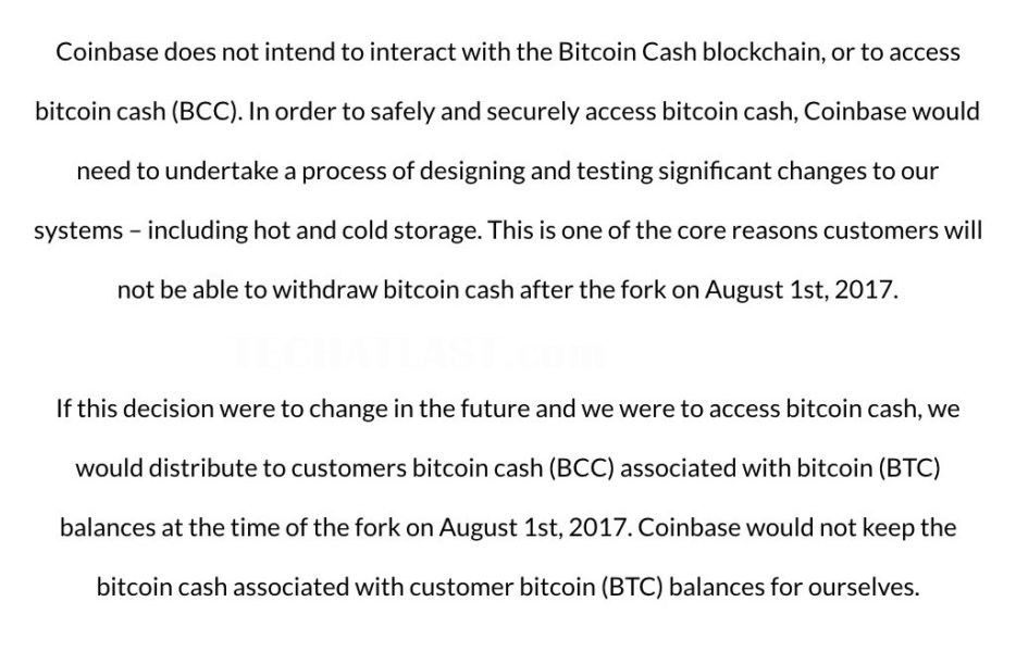 Coinbase update for customers asking if they are going to lose their Bitcoin cash