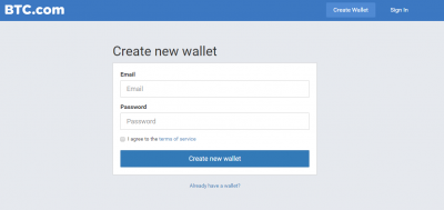 Create a new wallet on BTC site