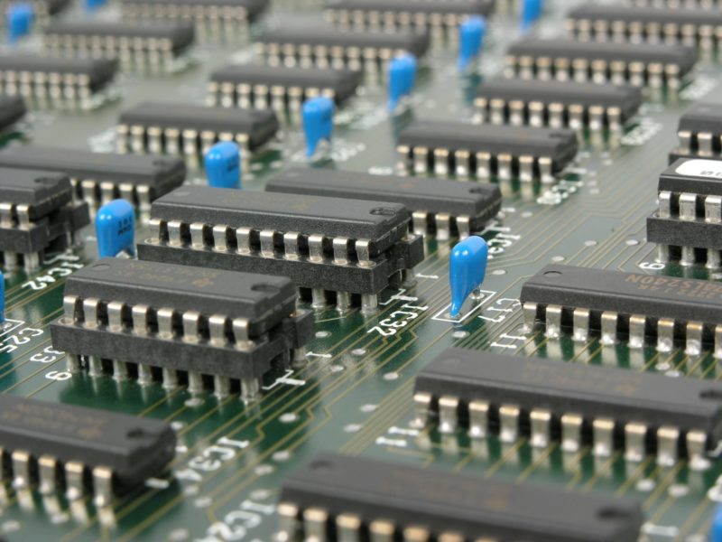 Motherboard of electronic computer processor.