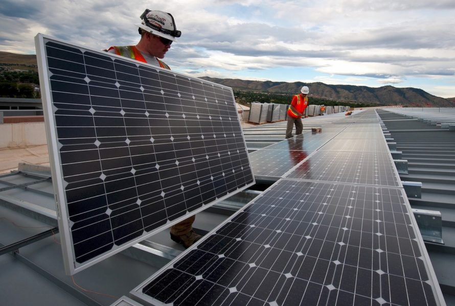 Solar panels are used in green construction industry