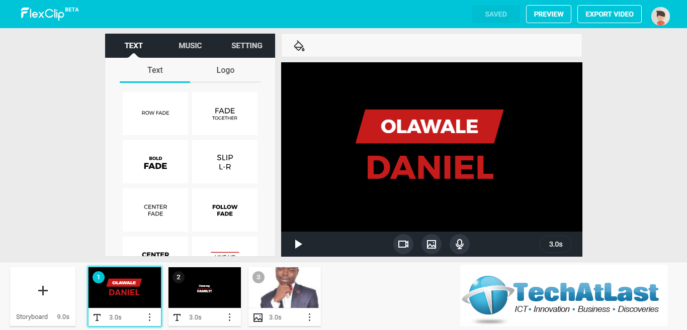 FlexClip video editor in use for Olawale Daniel video.