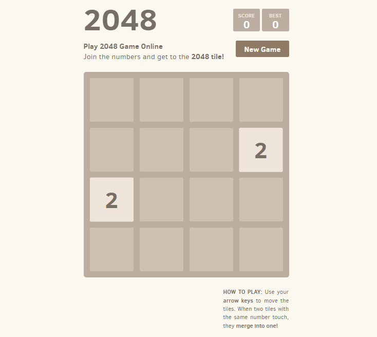 2048 - Cool Puzzle Game That Do Not Need Internet To Play