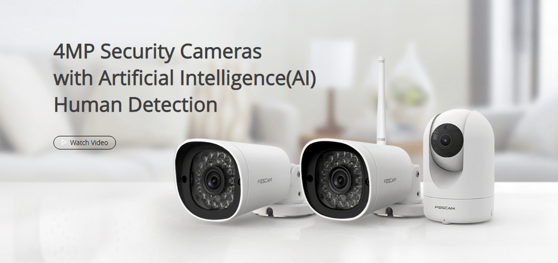 Foscan 4MP Security Cameras with Artificial Intelligence Human Detection