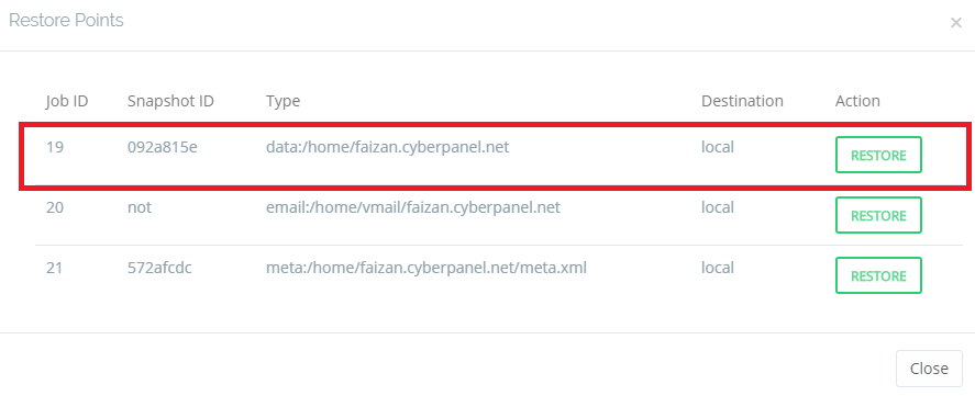Example to restore your site's data in CyberPanel
