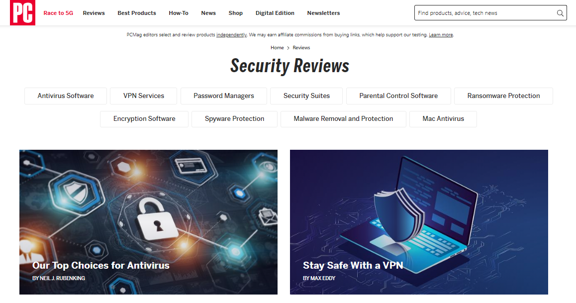 PCMag - Security Reviews - Software Review & Listing Websites