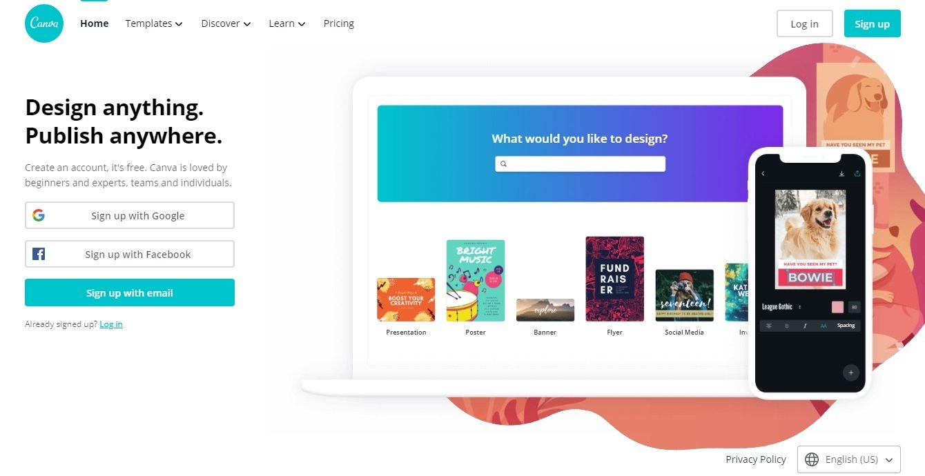 Design and publish creatives with Canva online presentation and design studio