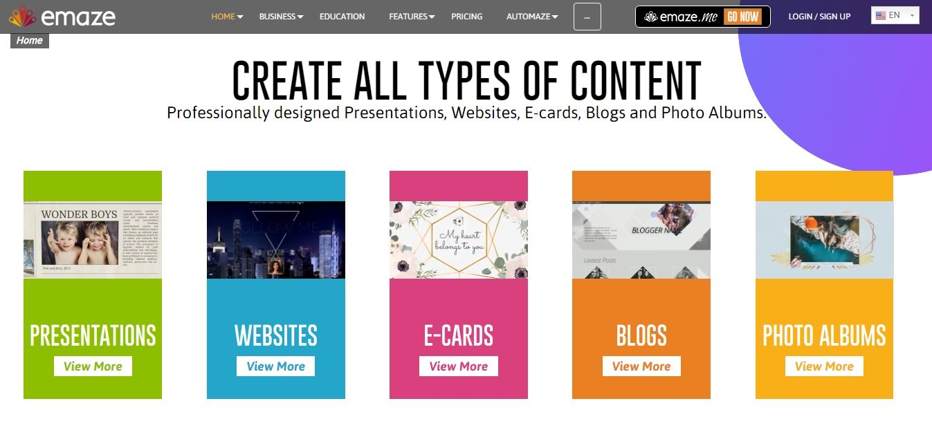 EMAZE let's you create all types of presentation contents with ease