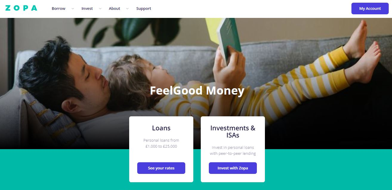 ZOPA lets you invest in personal loans with a peer to peer lending facility